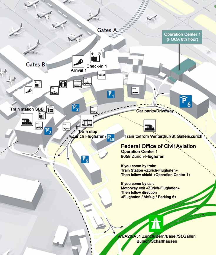 Location map for Zurich Airport